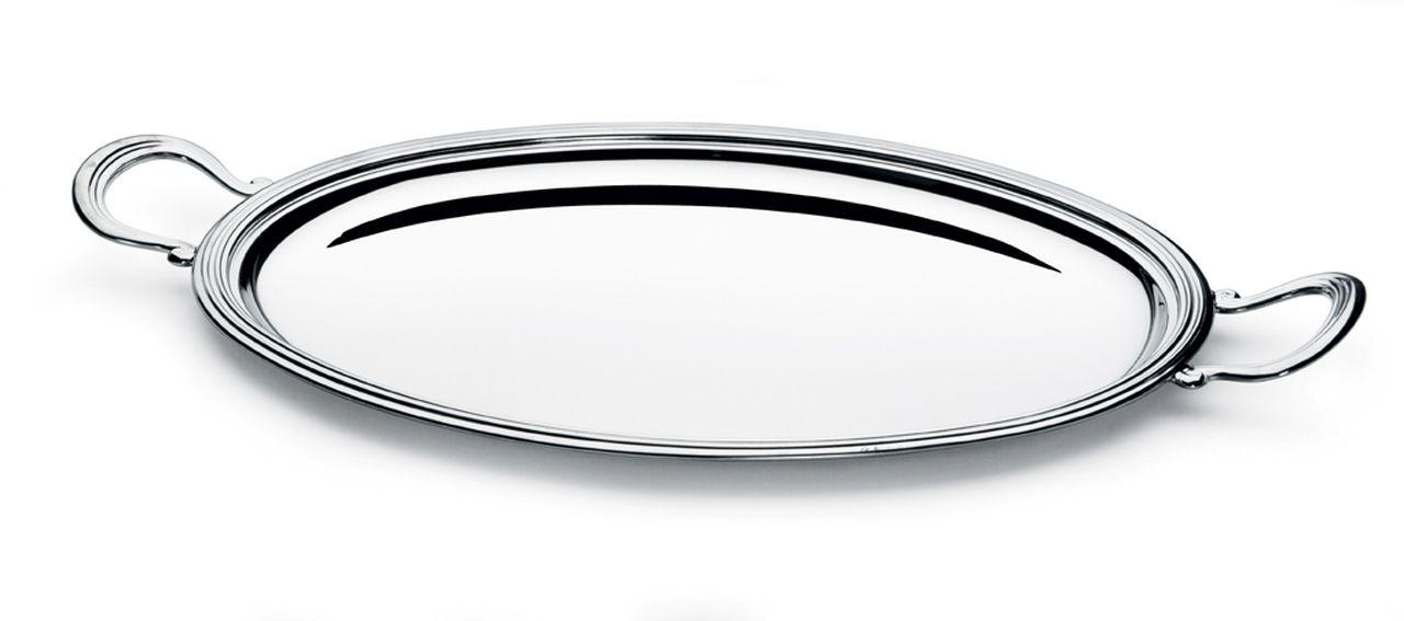 Vassoio ovale con manici, placcato argento, stile Inglese