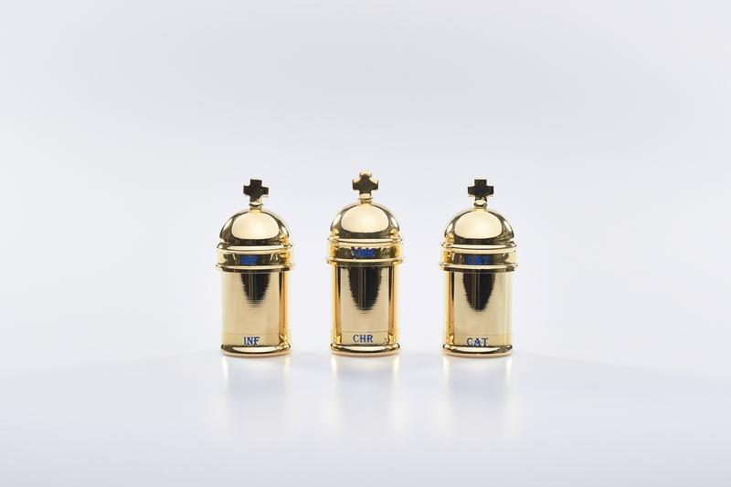 Vasetto vintage oli santi dorato