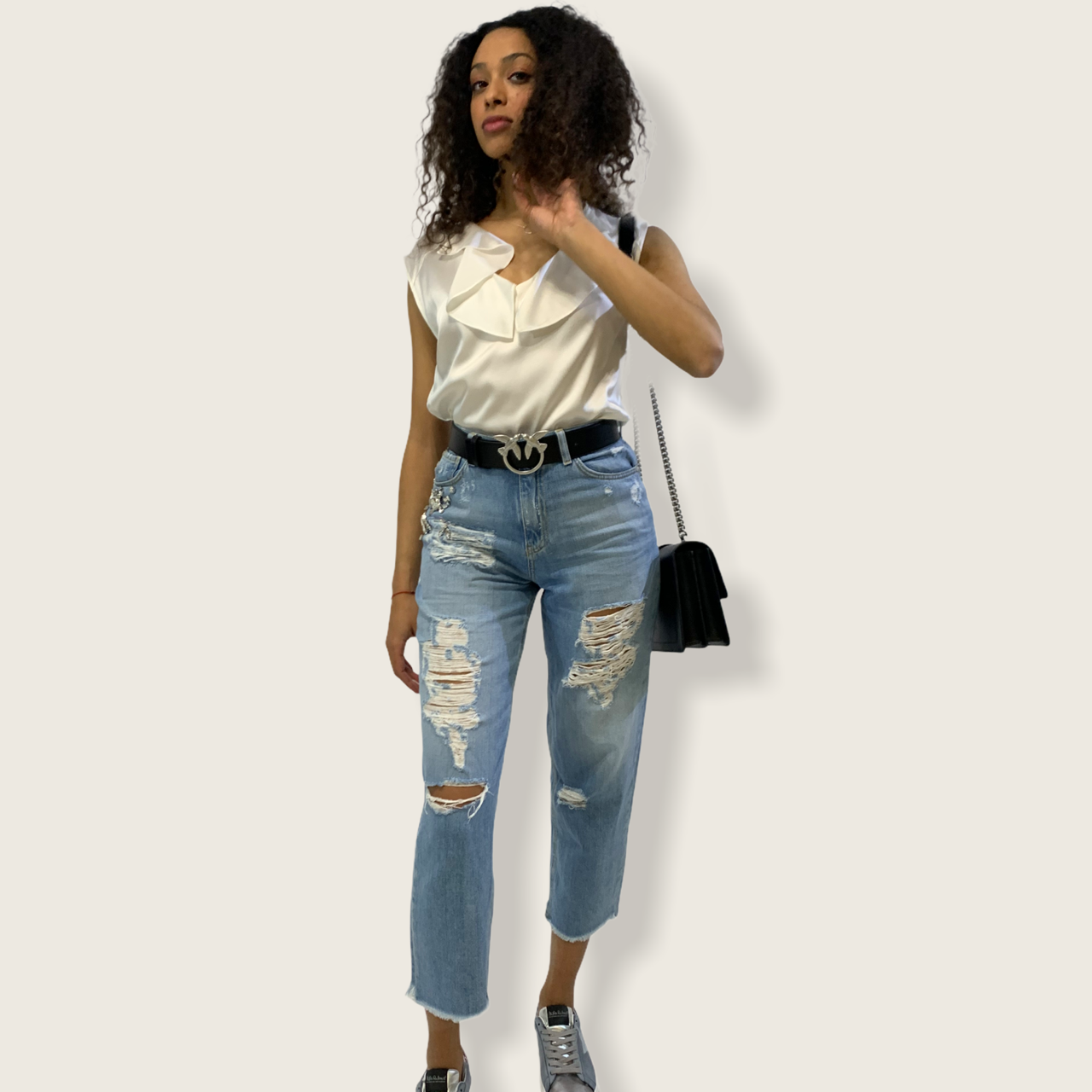 SHOPPING ON LINE PINKO JEANS MOM-FIT CON STRASS MADDIE 16 NEW COLLECTION WOMEN'S SPRING SUMMER 2021