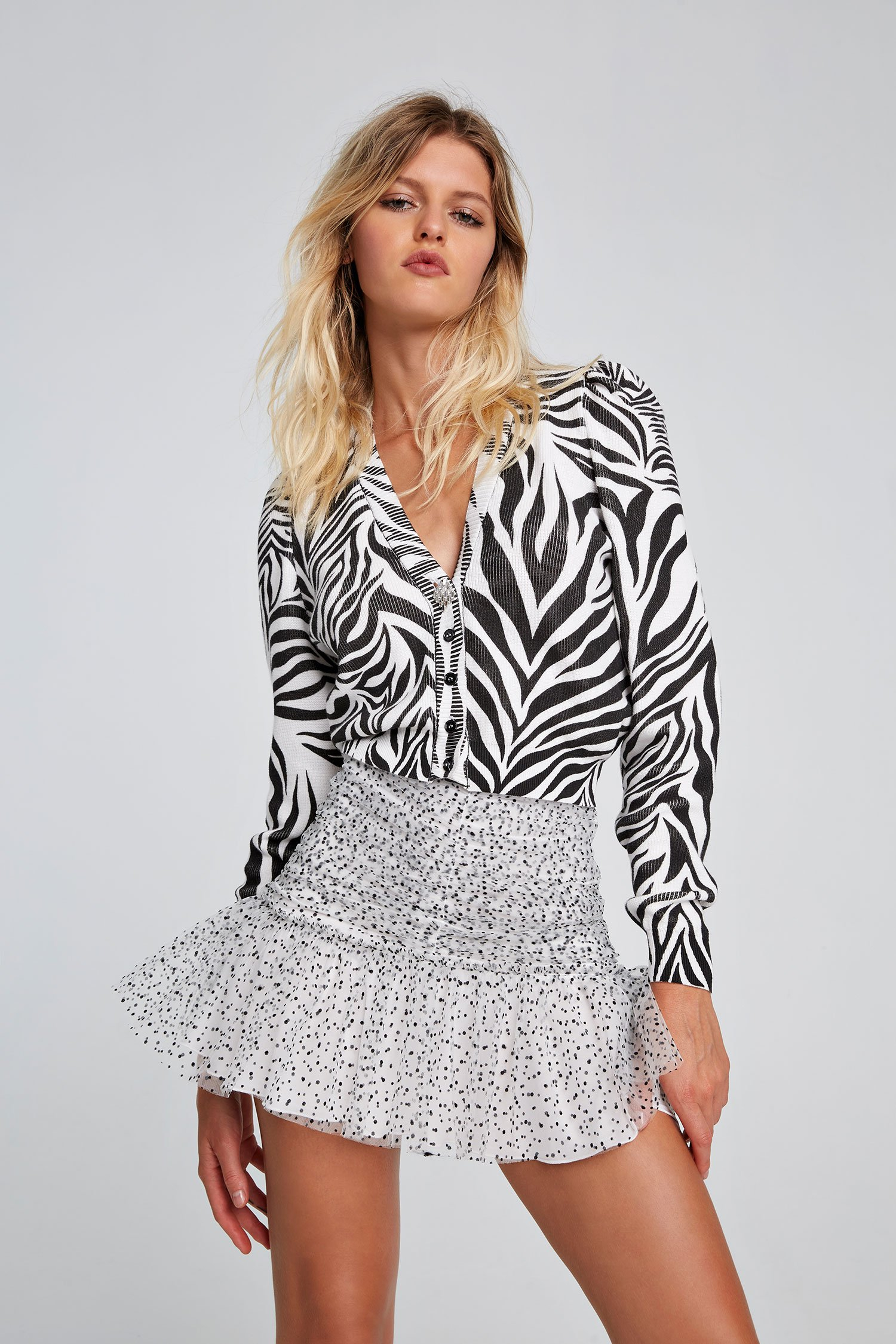 SHOPPING ON LINE ANIYE BY CARDIGAN STAMPA ZEBRA CON BOTTONE GIOIELLO  NEW COLLECTION WOMEN'S SPRING SUMMER 2021