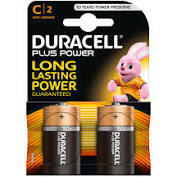 2 batterie C Duracell Plus Power (mezza torcia)