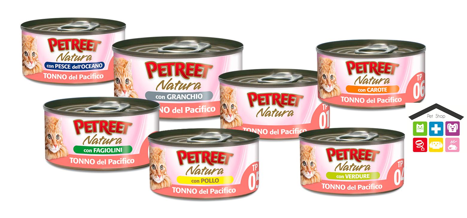 Petreet Umido Natura per Gatti -Tonno del pacifico, con pollo, granchio,carote,fagiolini,pesce dell'oceano, verdure 0,70g