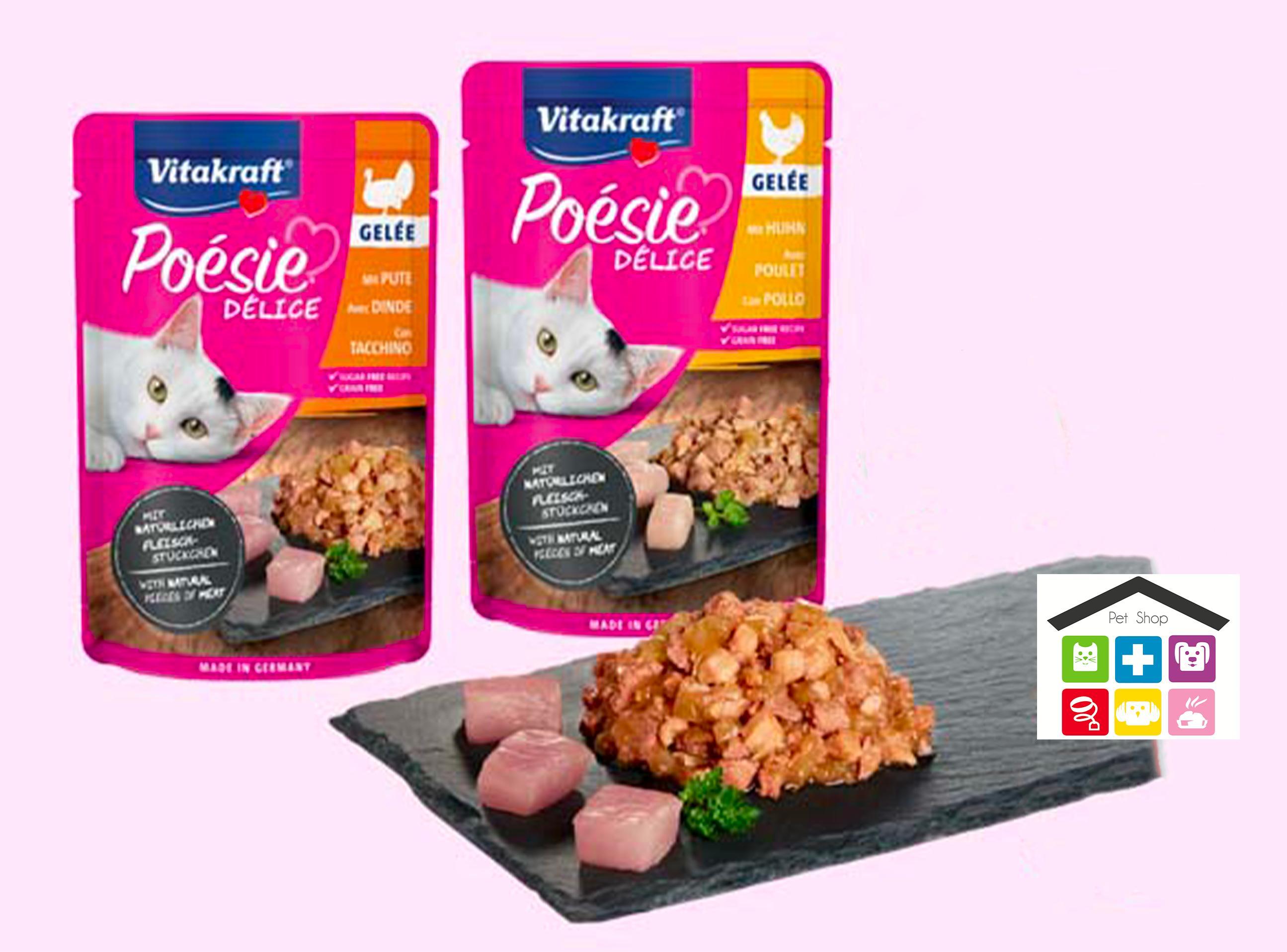 """Vitakraft SAUCE bustina 6 per gatti adulti e 2 specialità """"junior"""",2 varietà di bocconcini in gelatina 0,85g"""
