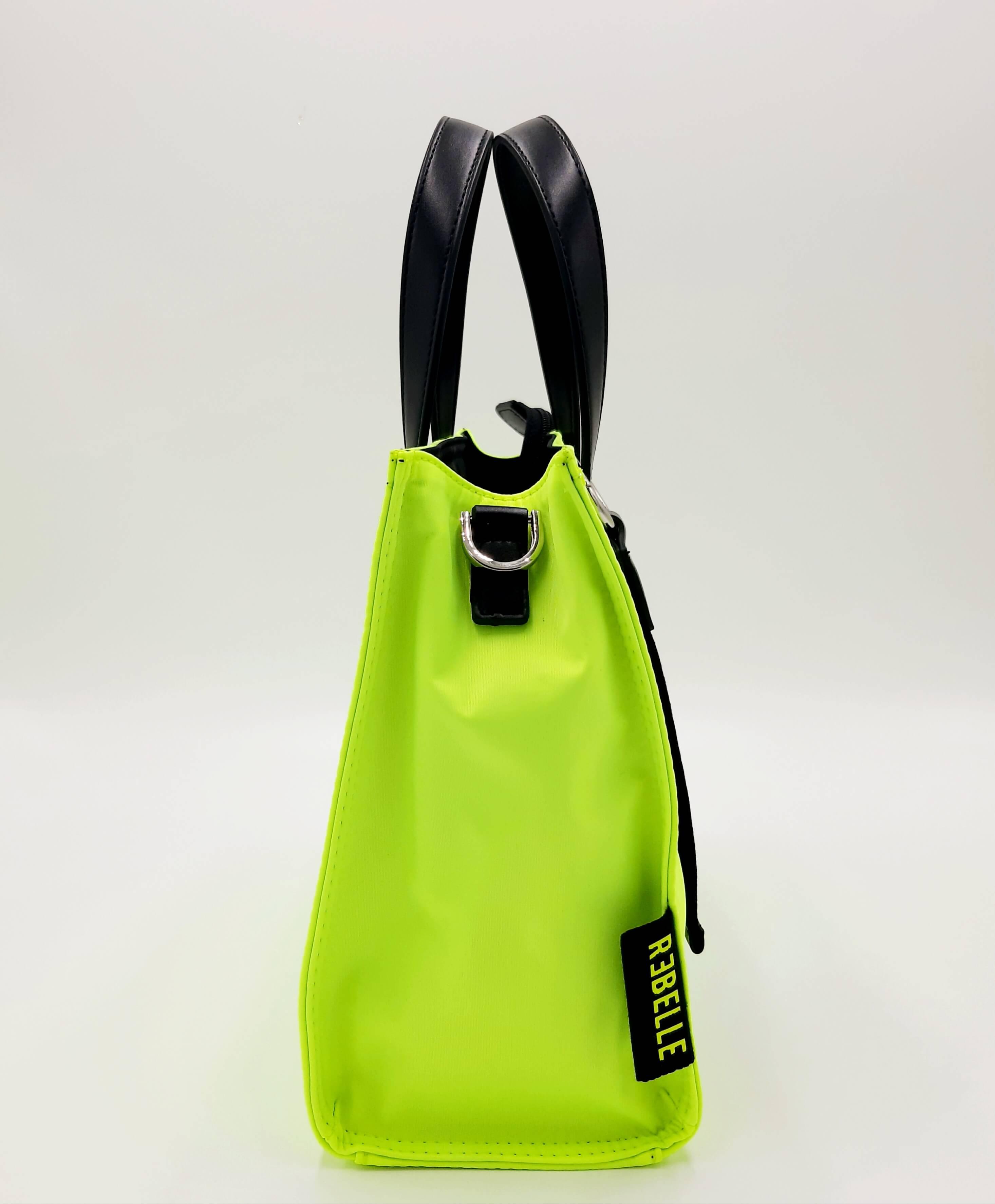 Shopping piccola gialla fluo in nylon e pelle REBELLE