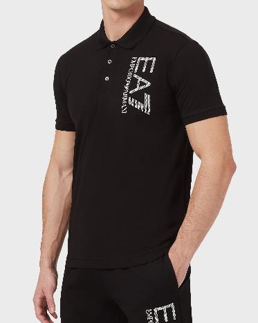 Polo uomo ARMANI EA7 in cotone stretch con maxi-logo