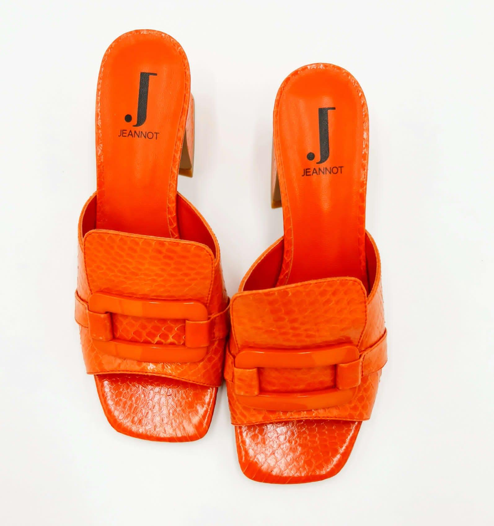 Sandalo arancione in pelle punta quadrata Jeannot