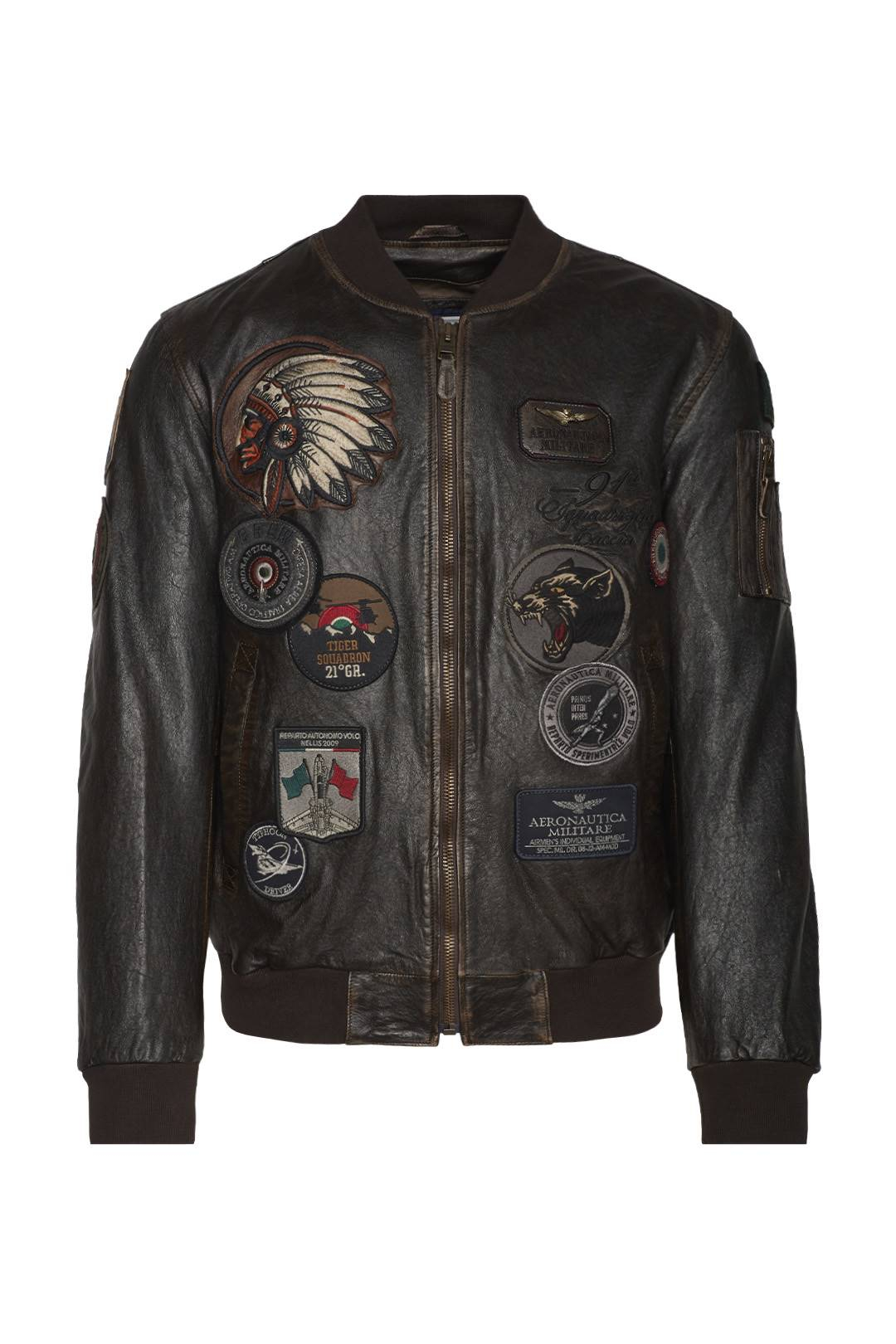 Bomber in pelle con patch 1