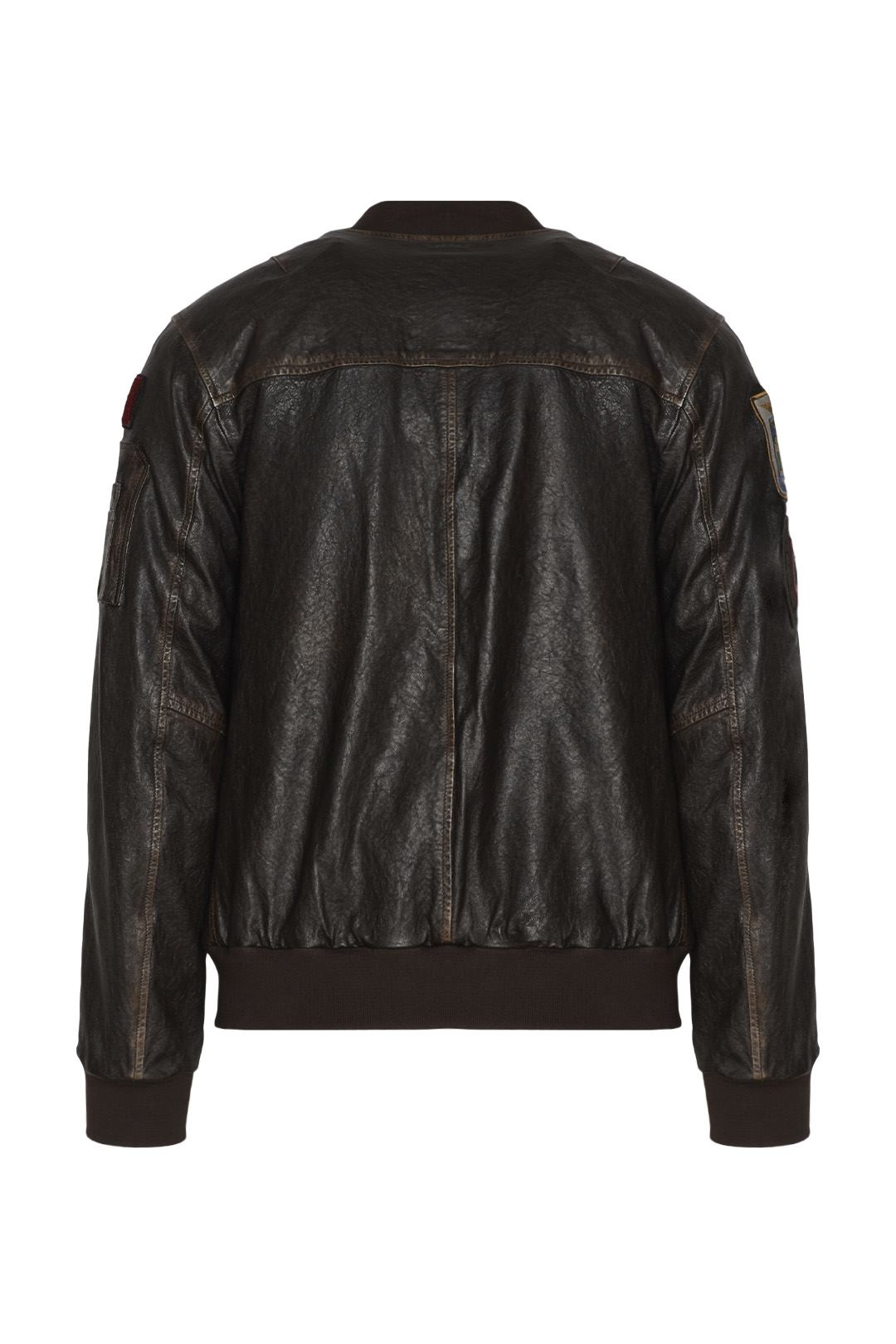 Bomber in pelle con patch 2