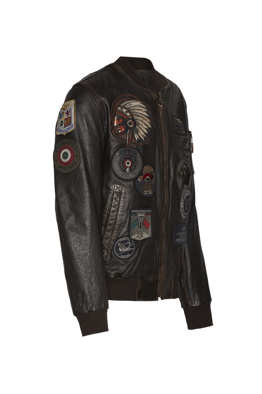 Bomber in pelle con patch 3