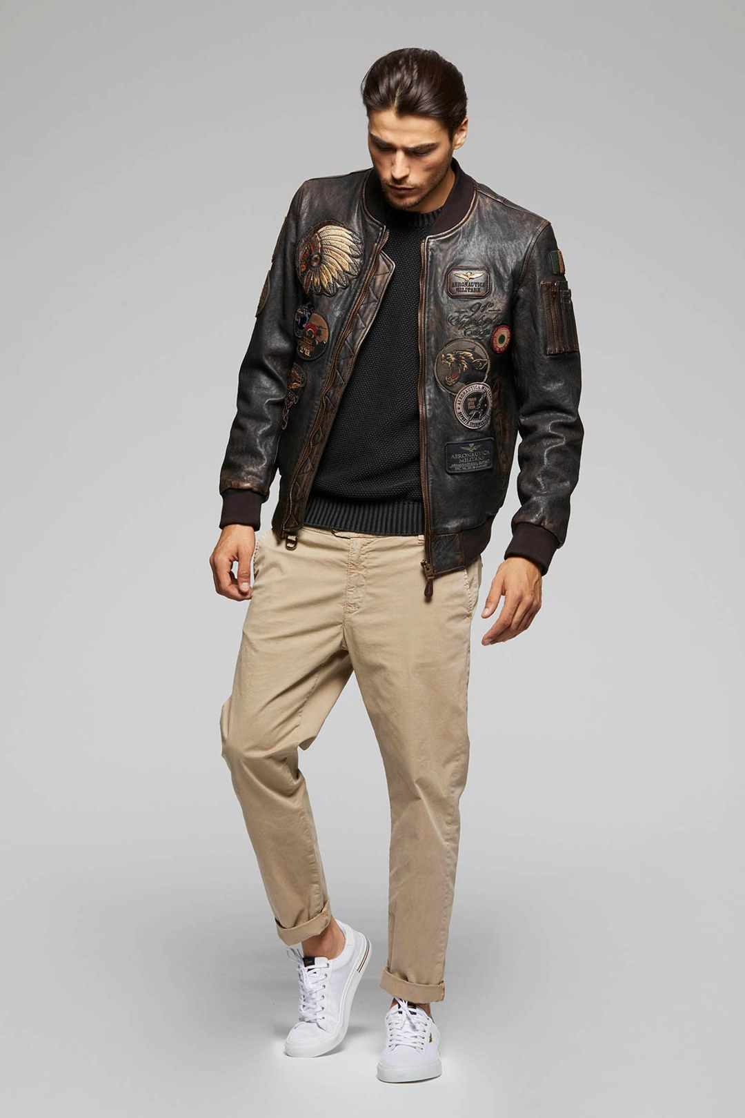 Bomber in pelle con patch 4
