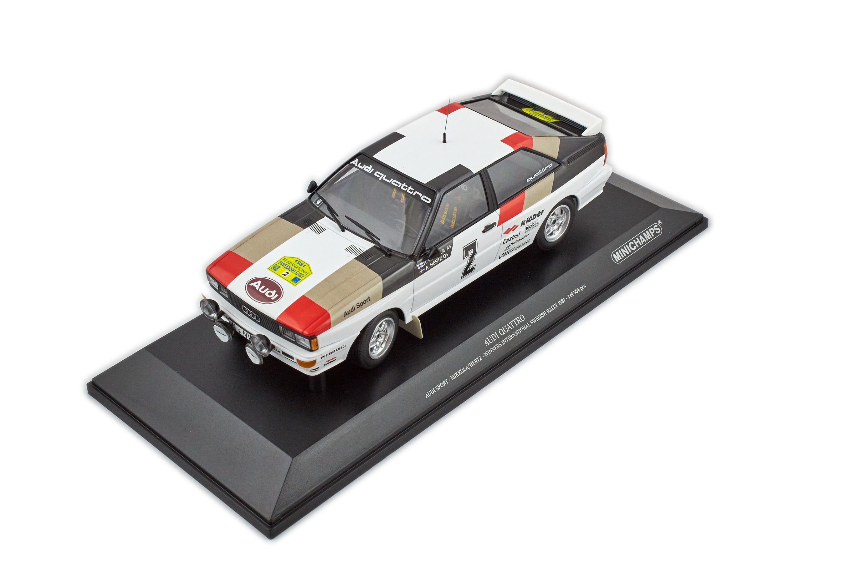 Audi Sport Quattro Mikkola Hertz Winner International Swedish Rally 1981 #2 1/18 Minichamps