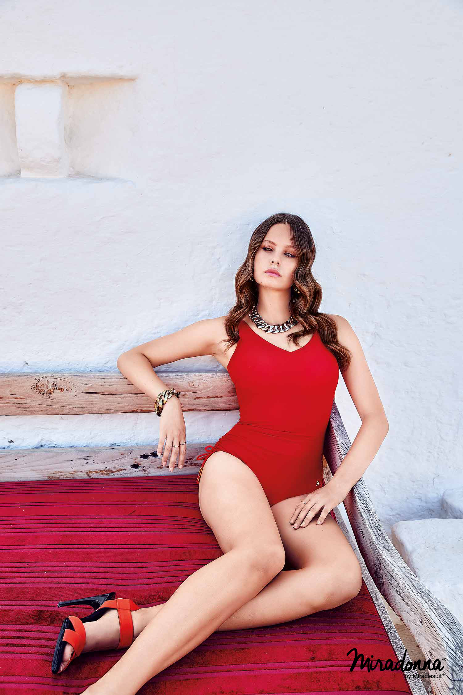 Costume da bagno intero per donna rosso MIRADONNA