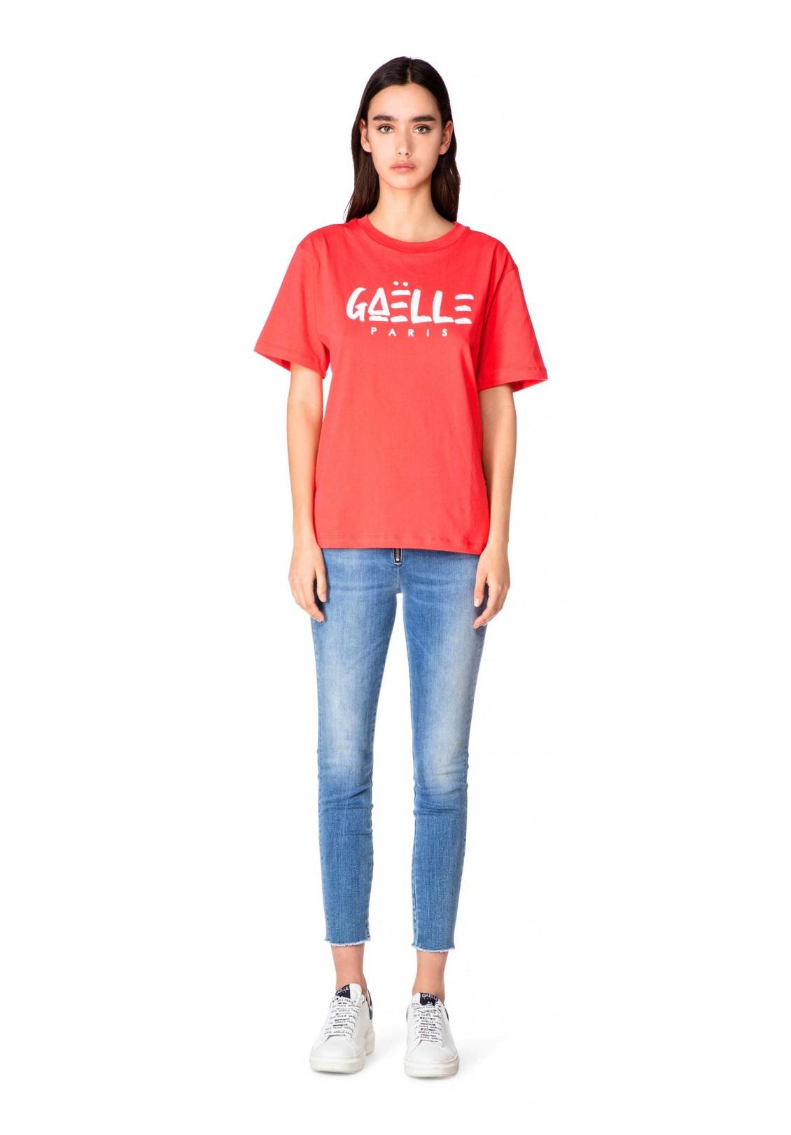 T-shirt rossa con logo gaelle paris