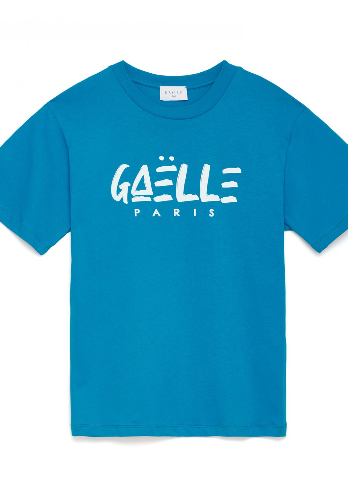 T-shirt turchese con logo gaelle paris