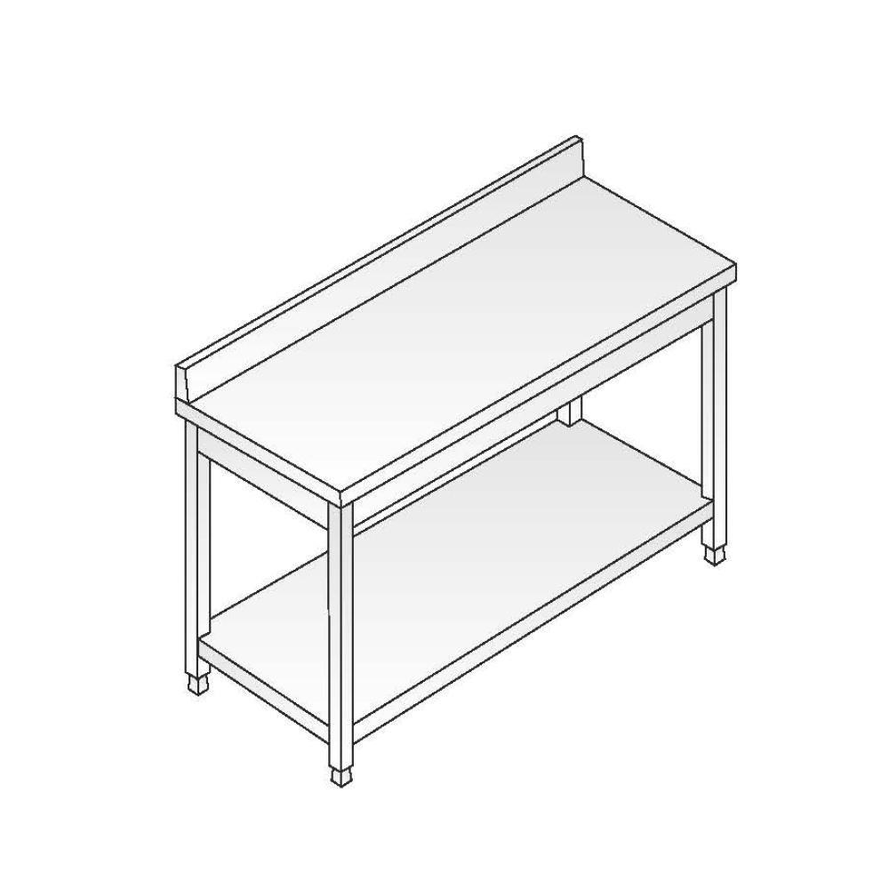 Tavolo Acciaio Inox AISI 304 - Dim. 200x60x85 cm - con Alzatina
