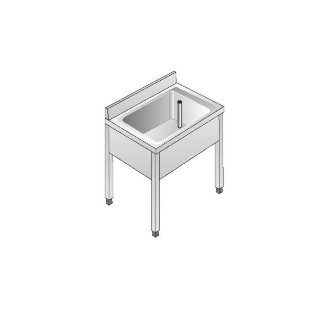 Lavello Acciaio Inox AISI 304 - 1 Vasca - Dim. 70x60x85 cm - con Alzatina
