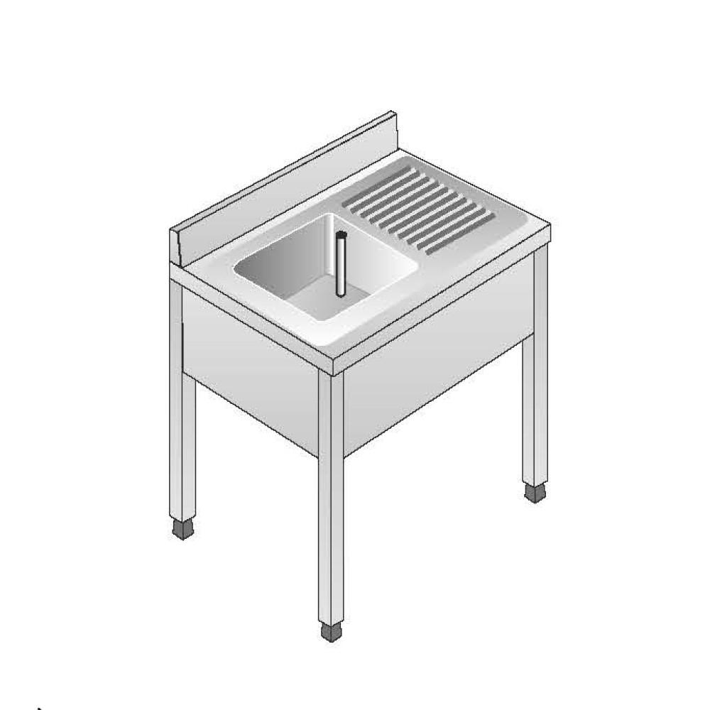 Lavello Acciaio Inox AISI 304 - 1 Vasca DX - Sgocciolatoio SX - Dim. 100x70x85 cm - con Alzatina - senza Ripiano