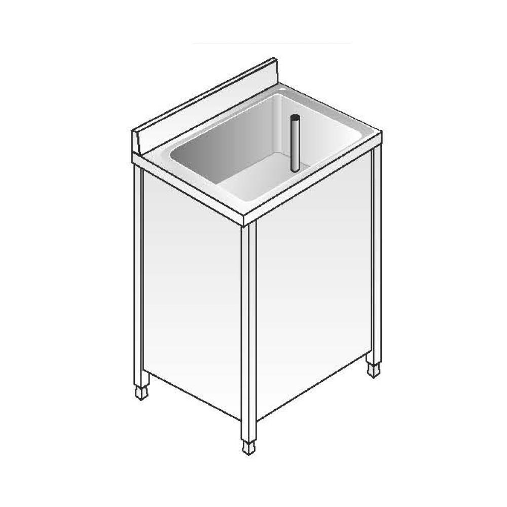 Lavello Inox Armadiato AISI 304 - 1 Vasca - Dim. 70x60x85 cm - con Alzatina