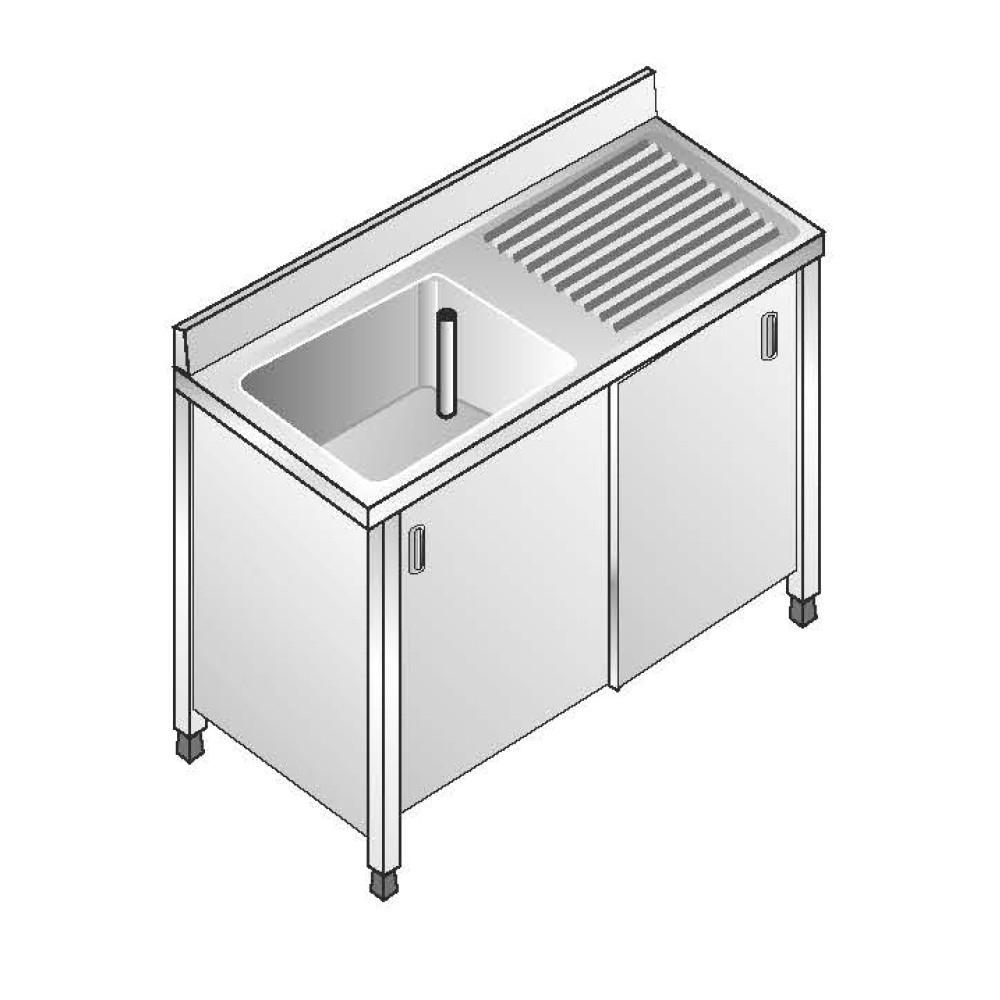 Lavello Inox Armadiato AISI 304 - 1 Vasca DX - Sgocciolatoio DX - Dim. 100x60x85 cm - con Alzatina