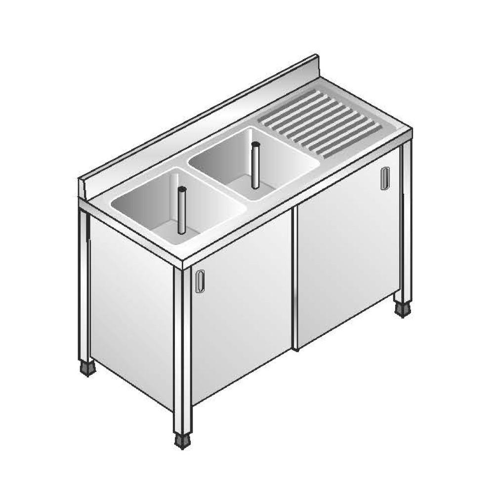 Lavello Inox Armadiato AISI 304 - 2 Vasche SX - Sgocciolatoio DX - Dim. 140x70x85 cm - con Alzatina