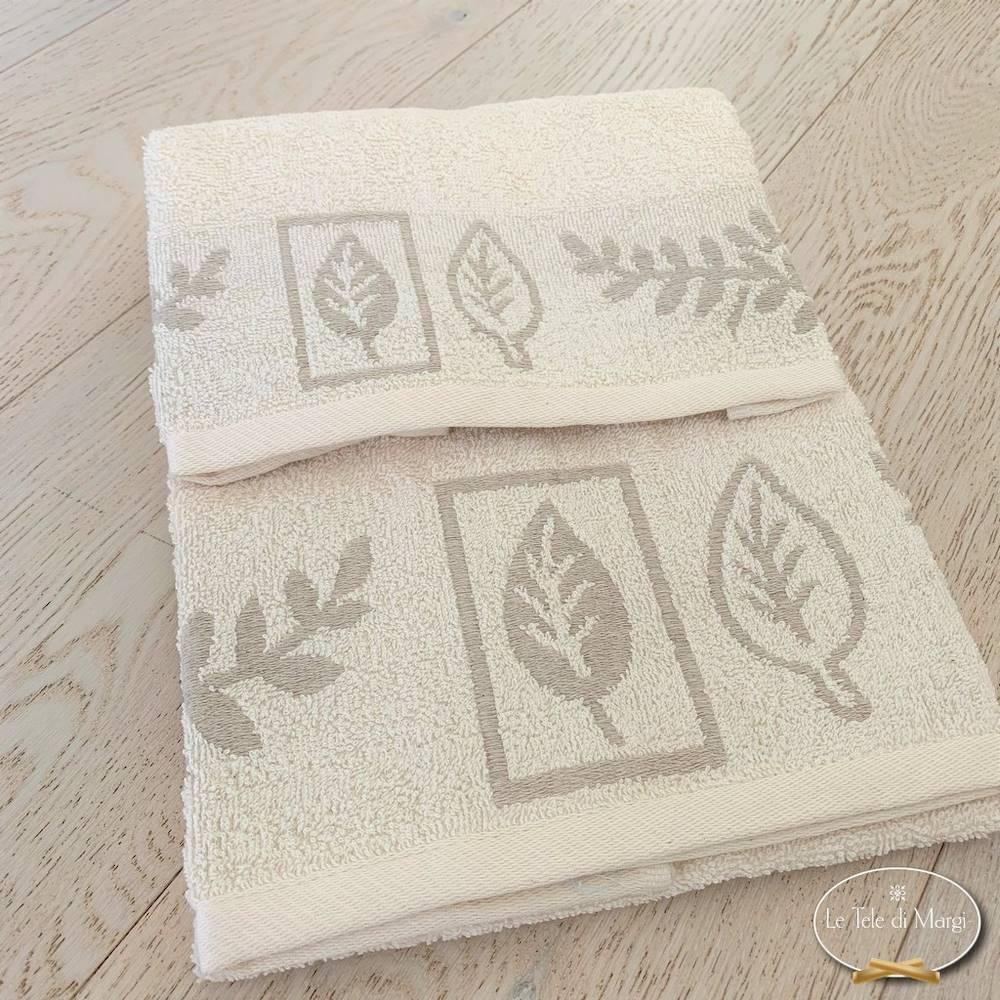 Coppia asciugamani foglie in lino
