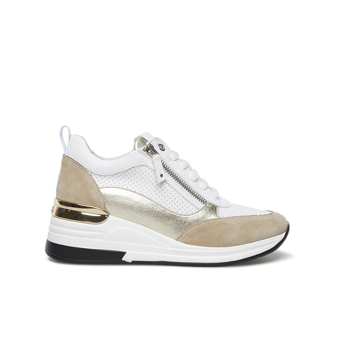 Sneaker con zeppa bianca/platino Keys