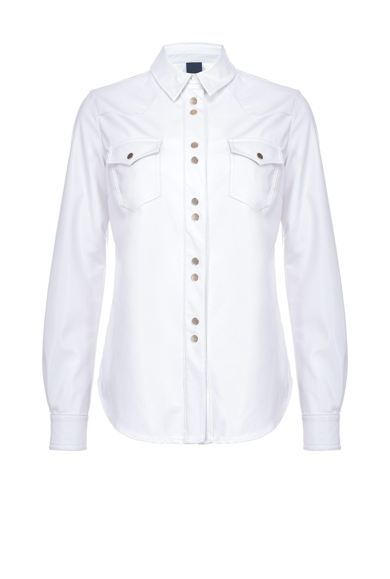 Camicia Caroline 6 effetto pelle bianca Pinko