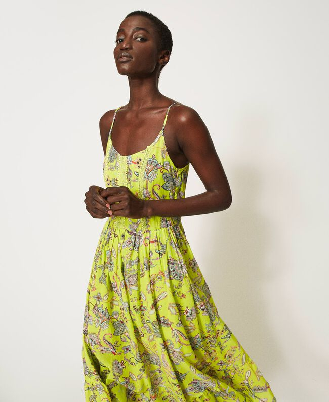 SHOPPING ON LINE TWINSET MILANO ABITO IN MUSSOLA CON STAMPA A FIORI NEW COLLECTION WOMEN'S SPRING SUMMER 2021