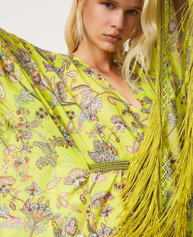 SHOPPING ON LINE TWINSET MILANO ABITO KAFTANO IN MUSSOLA A FIORI NEW COLLECTION WOMEN'S SPRING SUMMER 2021