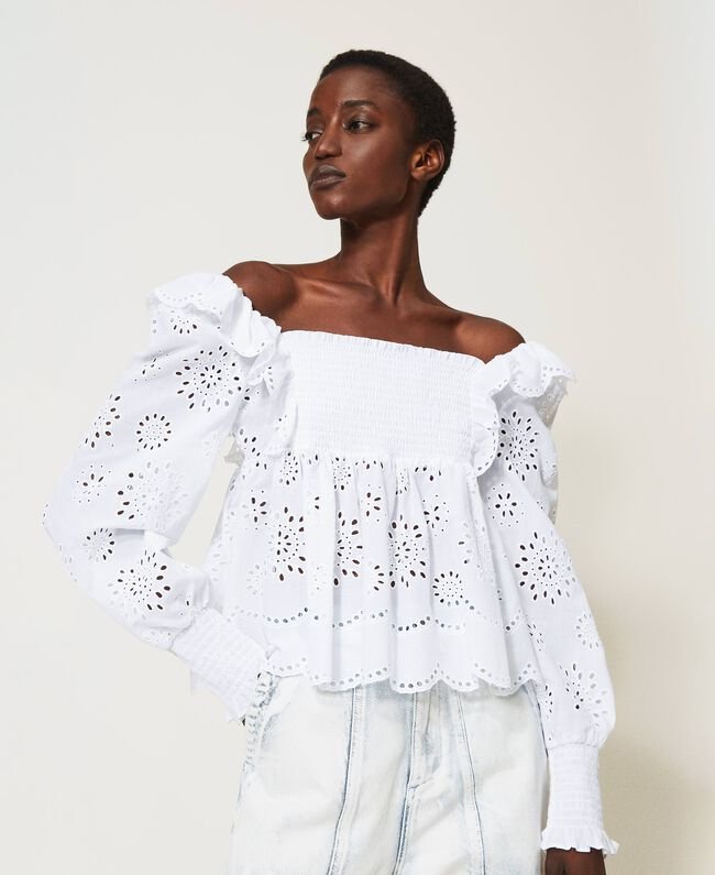 SHOPPING ON LINE TWINSET MILANO BLUSA IN MUSSOLA CON RICAMO SANGALLO NEW COLLECTION WOMEN'S SPRING SUMMER 2021