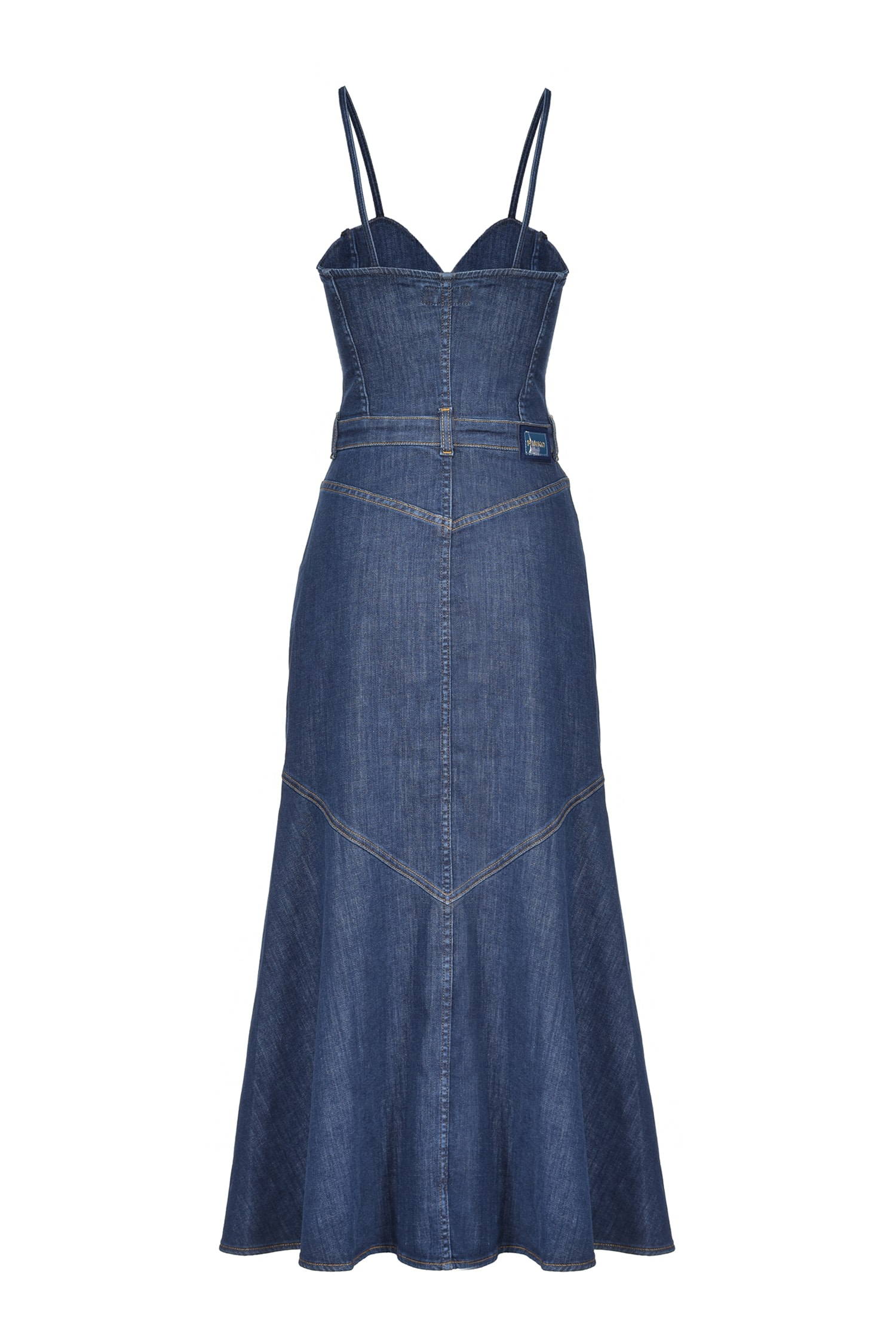 SHOPPING ON LINE PINKO SLIPDRESS MIDI IN DENIM POPPY NEW COLLECTION WOMEN'S SPRING SUMMER 2021