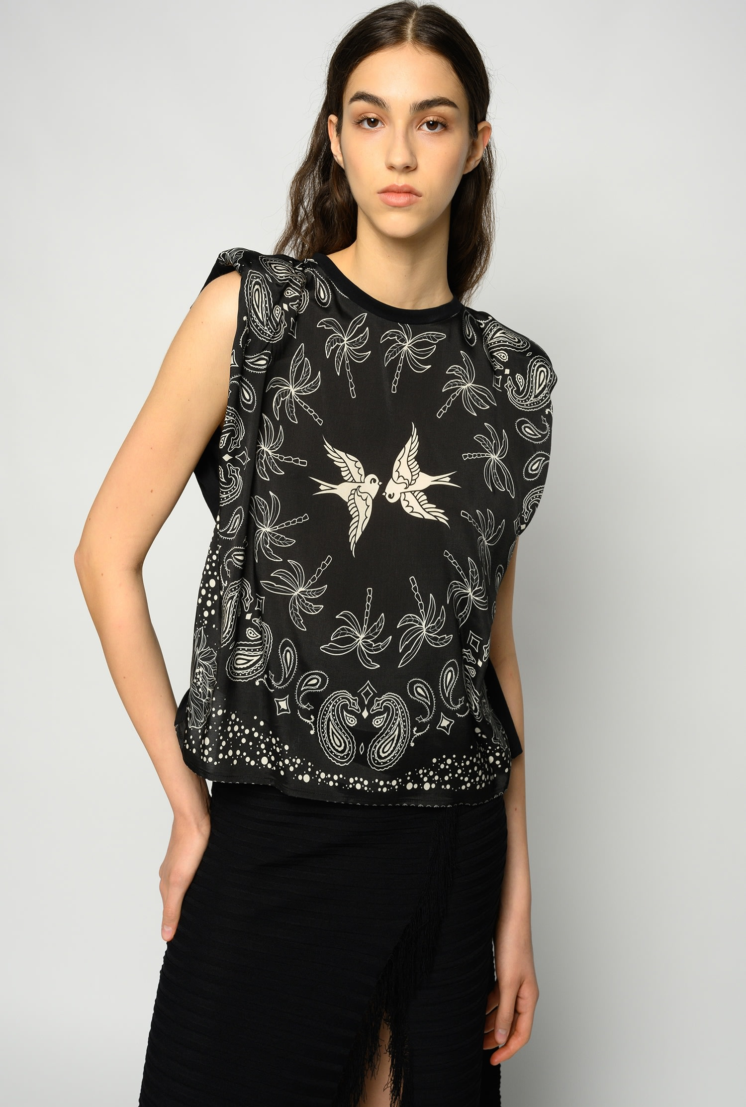 SHOPPING ON LINE PINKO TOP STAMPA BANDANA ACQUA E SALE NEW COLLECTION WOMEN'S SPRING SUMMER 2021
