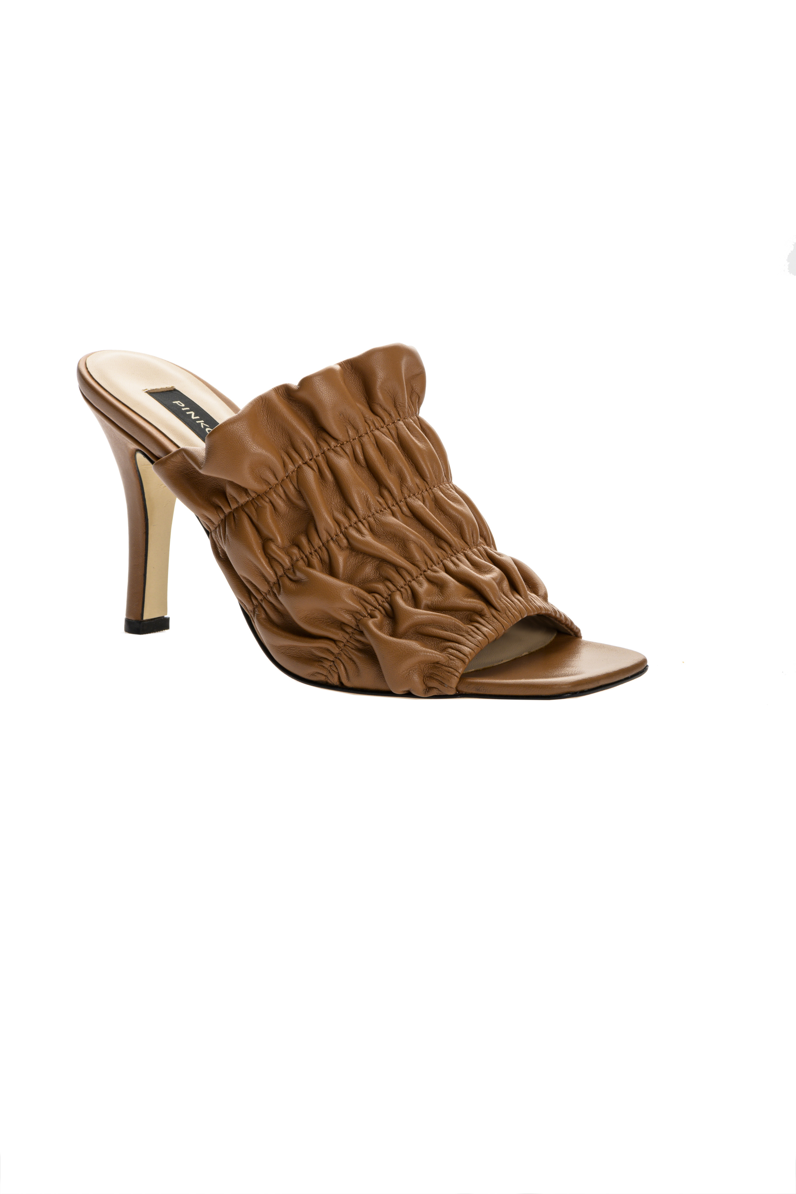 SHOPPING ON LINE PINKO SANDALI MULES IN NAPPA GOFFRATA CON TACCO NEW COLLECTION WOMEN'S SPRING SUMMER 2021