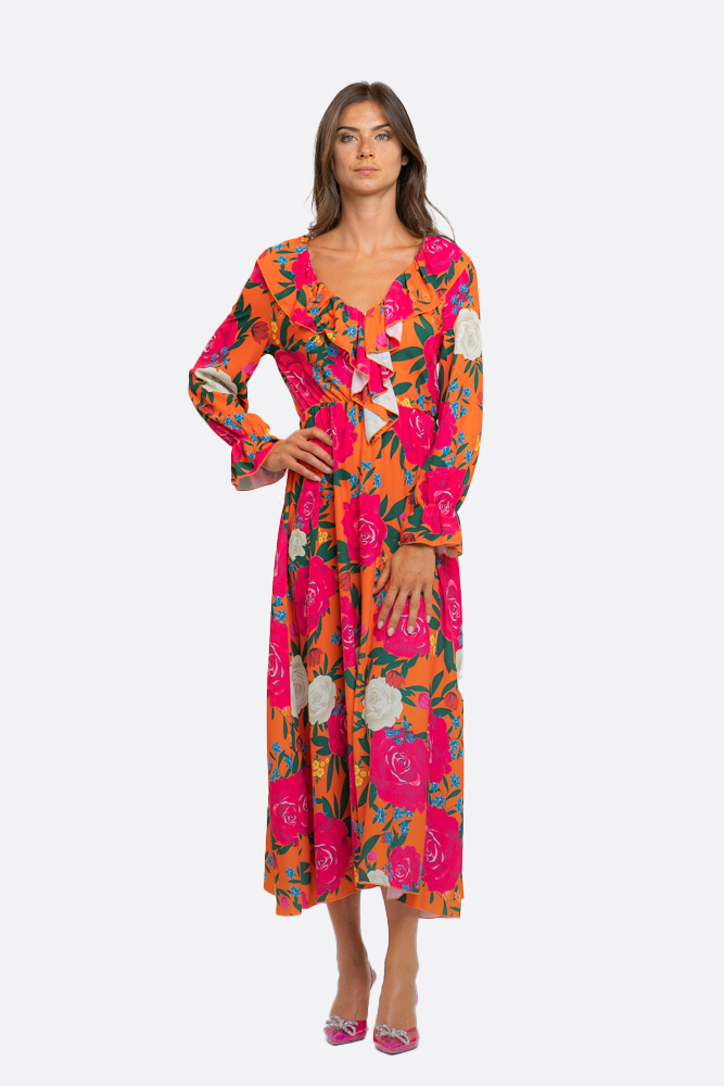 SHOPPING ON LINE NO SECERETS MILANO ABITO CON VOLAN  NEW COLLECTION WOMEN'S SPRING SUMMER 2021