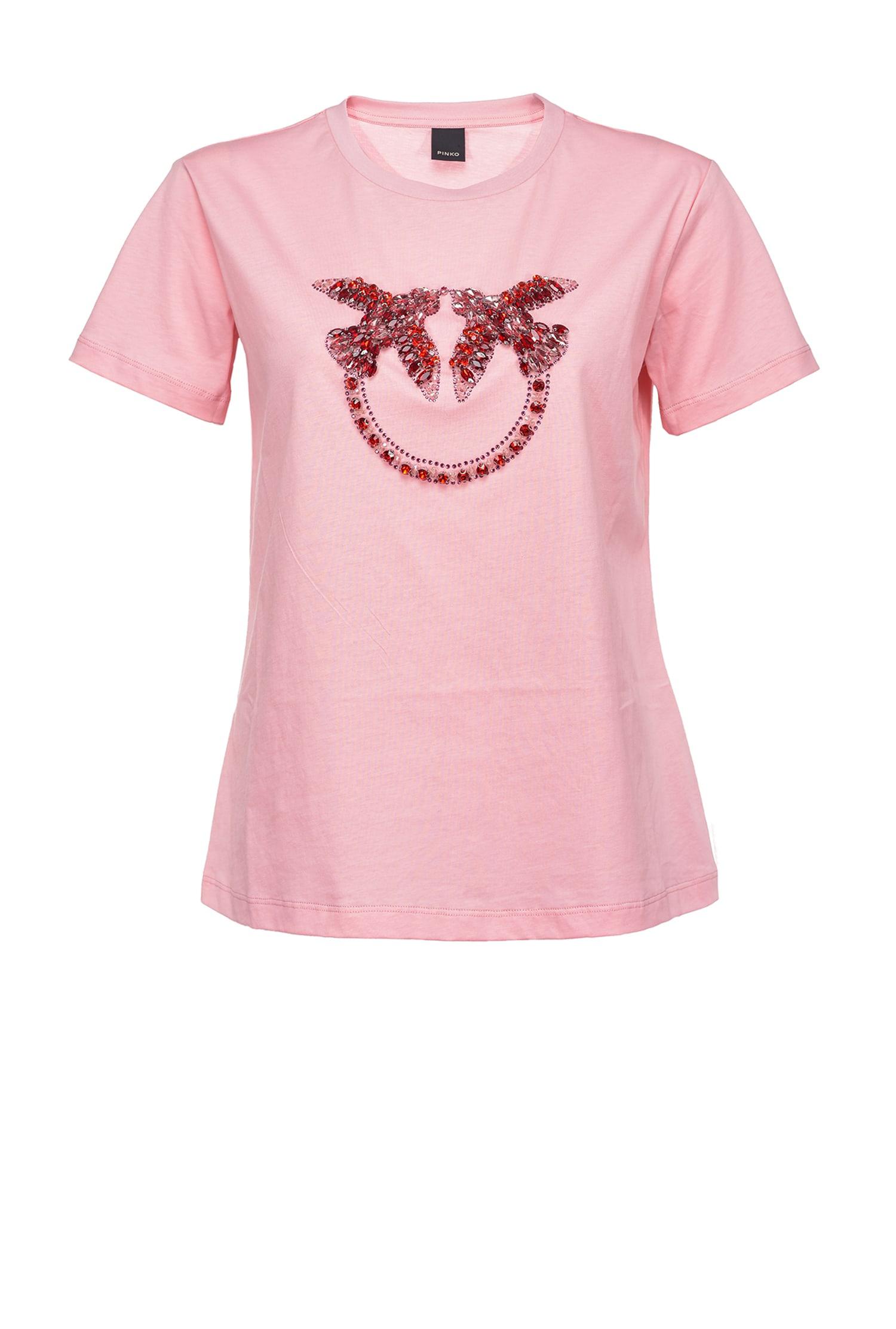 T-shirt Quentin 1 ricamo rosa Pinko