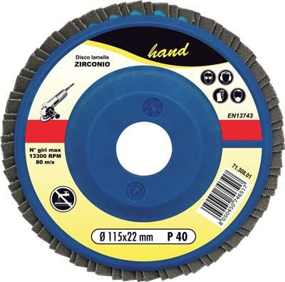 DISCO A LAMELLE RADIALI HAND ZIRCONIO MM 115X22,2 GRANA 40