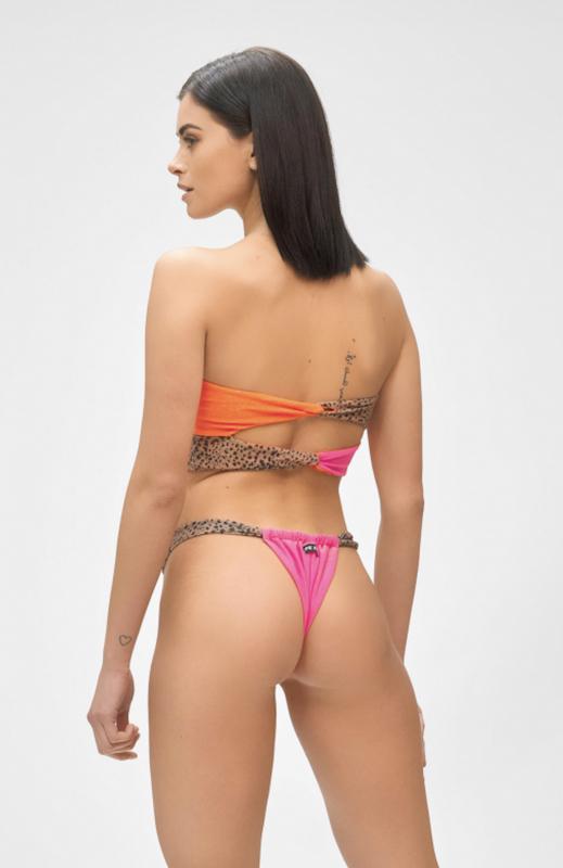 Bikini a fascia e slip brasiliano fusciacca regolabile Hot Tropic Mefui