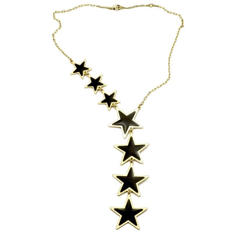 Collana asimmetrica con stelle nere Francesca Bianchi Design