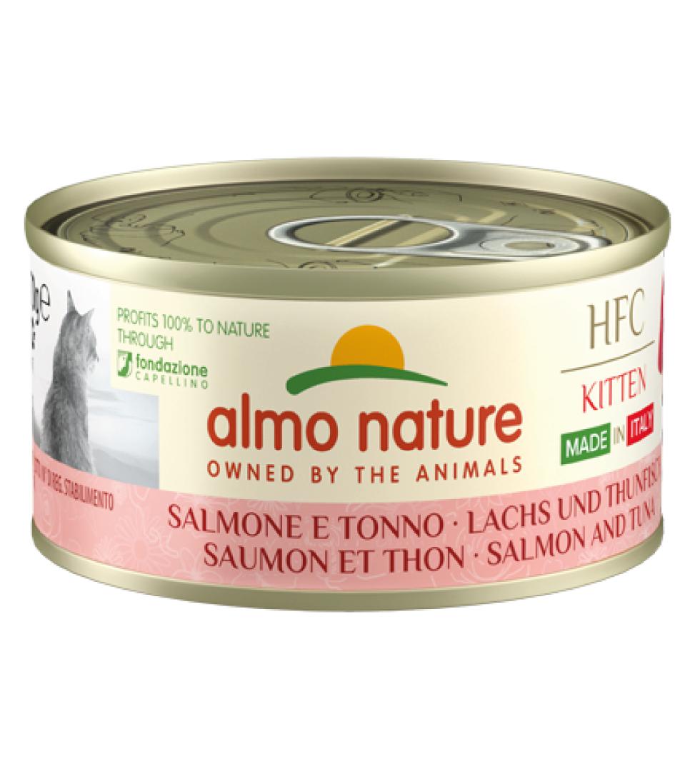 Almo Nature - HFC Cat - Kitten - Complete - Made in Italy - Salmone e Tonno - 70g x 6 lattine