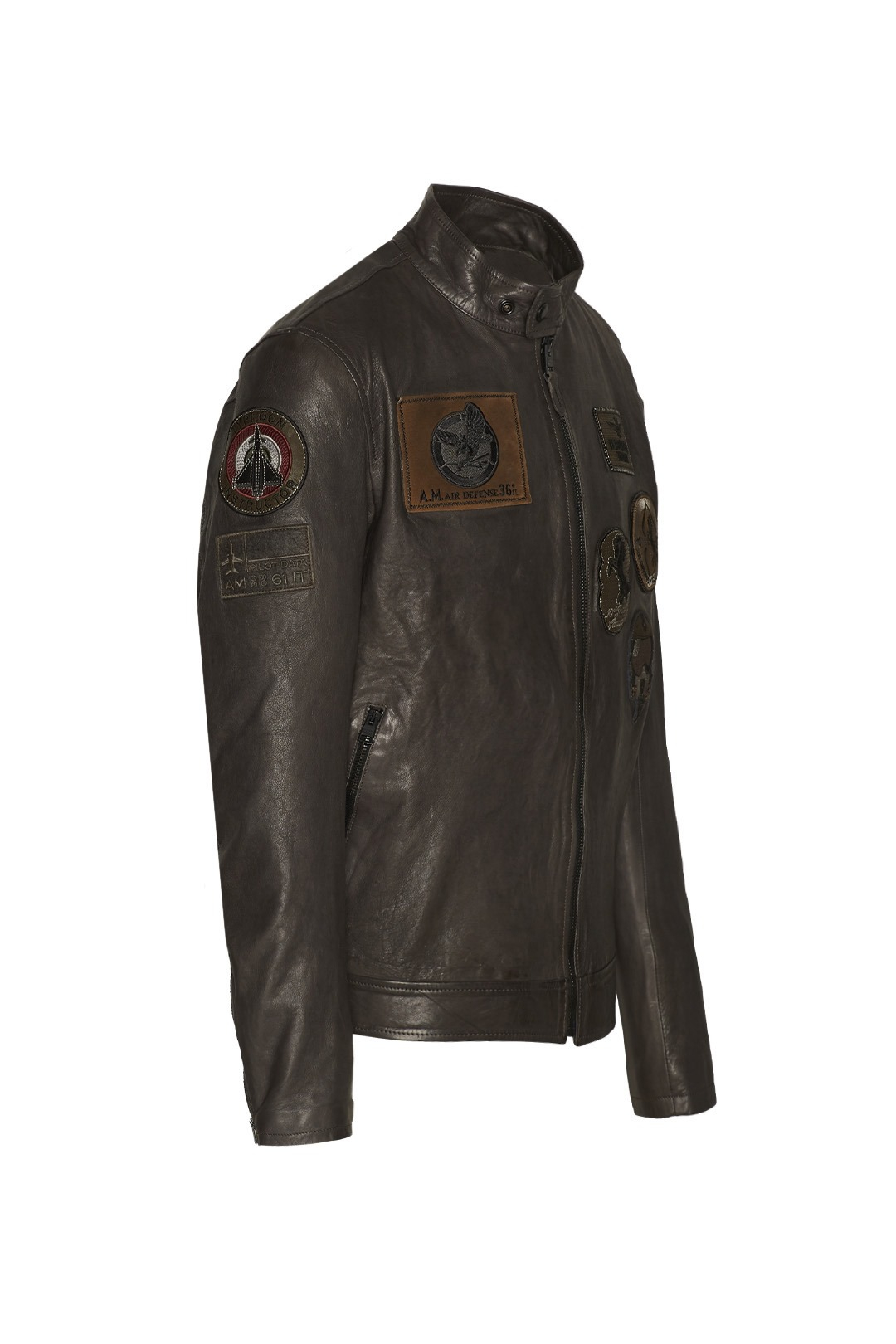 Leather Jacket with patches                      3