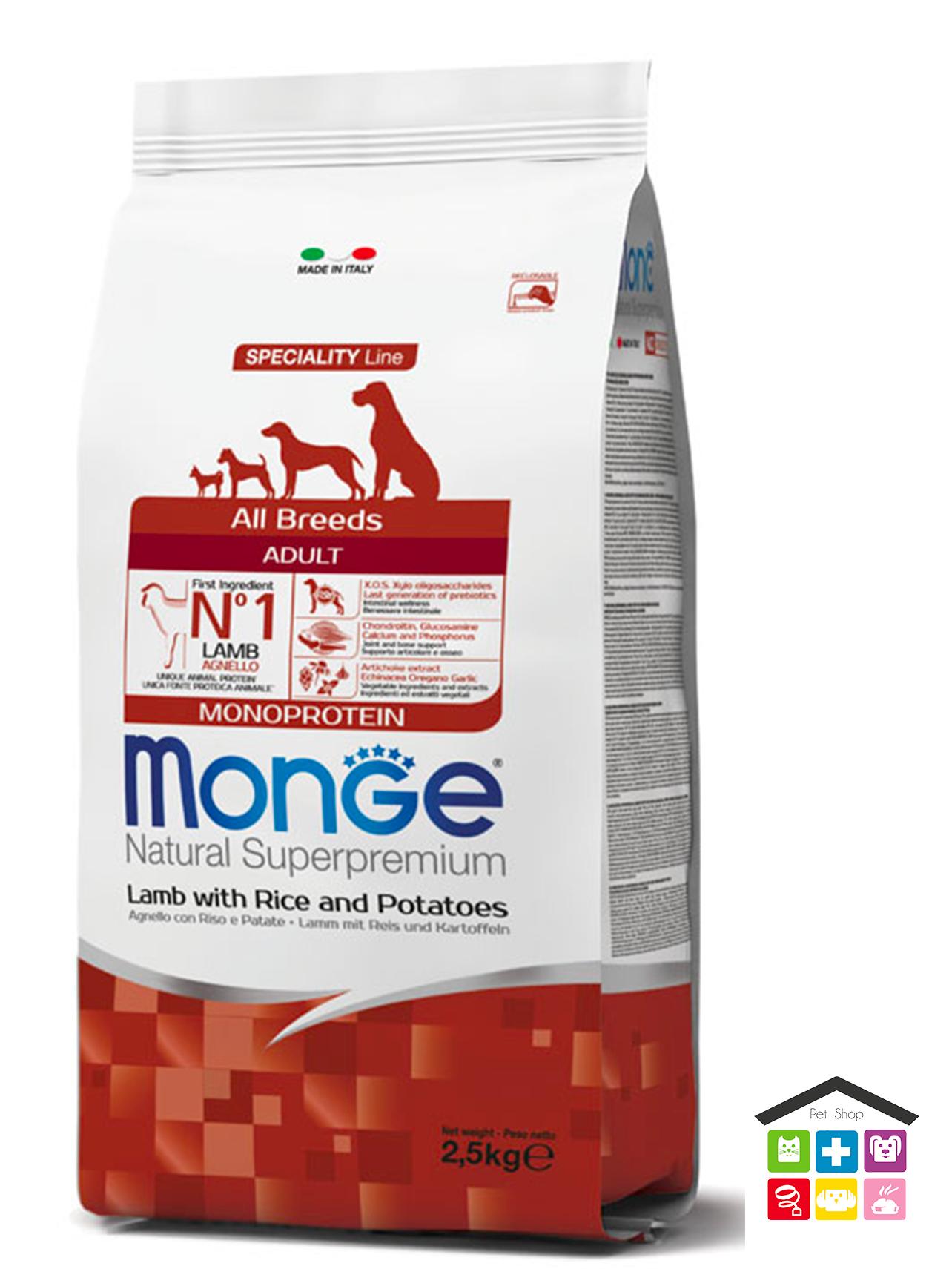 Monge  All Breeds Adult Agnello con Riso e Patate 2,5kg/12kg