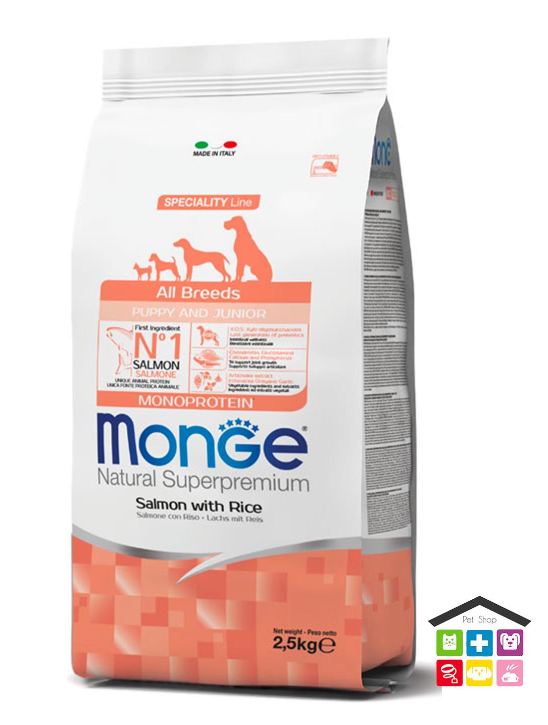 Monge All Breeds Puppy & Junior Salmone con Riso 2,5kg/12kg