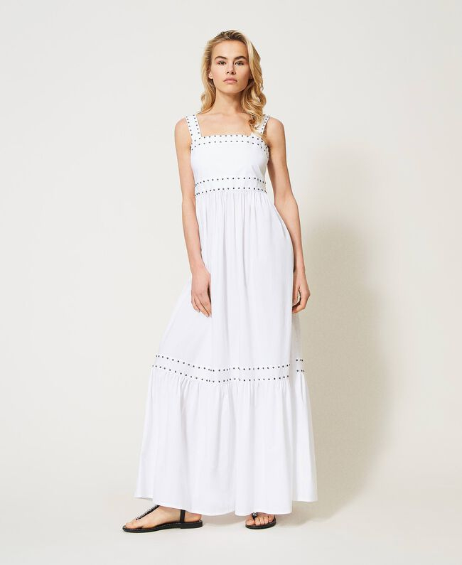 SHOPPING ON LINE TWINSET MILANO  ABITO LUNGO IN POPELINE CON BORCHIE NEW COLLECTION WOMEN'S SPRING SUMMER 2021
