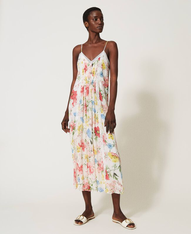SHOPPING ON LINE TWINSET MILANO  ABITO LUNGO IN CREPON CON STAMPA FLOREALE NEW COLLECTION WOMEN'S SPRING SUMMER 2021