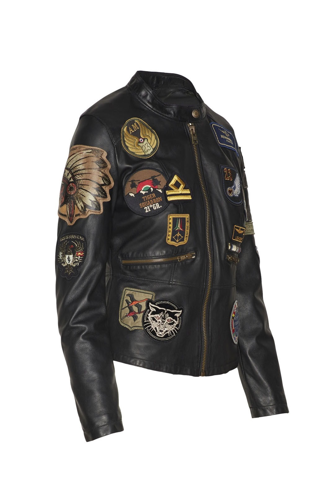 Giacca in pelle con patch 3