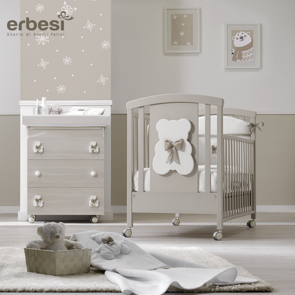 Lettino per bambini Completo linea Bubu tortora by Erbesi