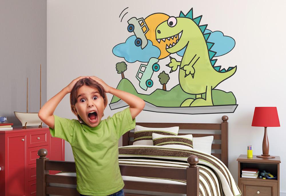 Adesivo murale Il Dinosauro e le Automobili by Wall skin