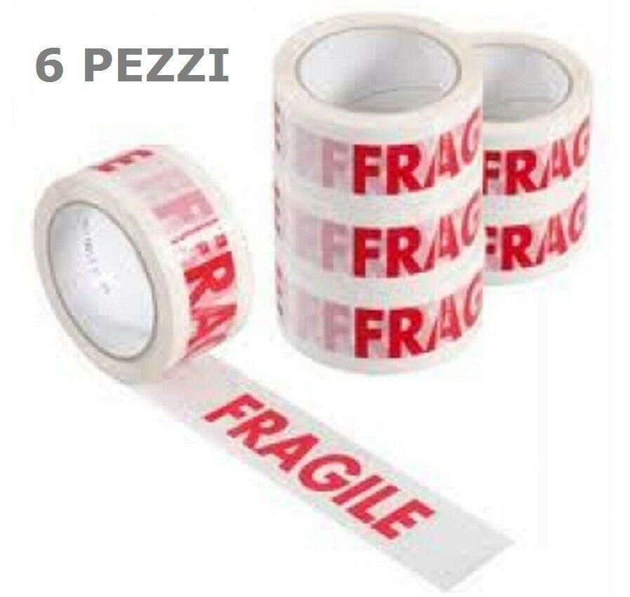 Nastro adesivo Scotch FRAGILE imballaggio 50mt x 50mm 6 pz
