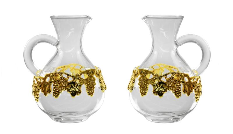 Brocchetta vetro ricambio per art. A1096  decoro  dorato 140 cc.