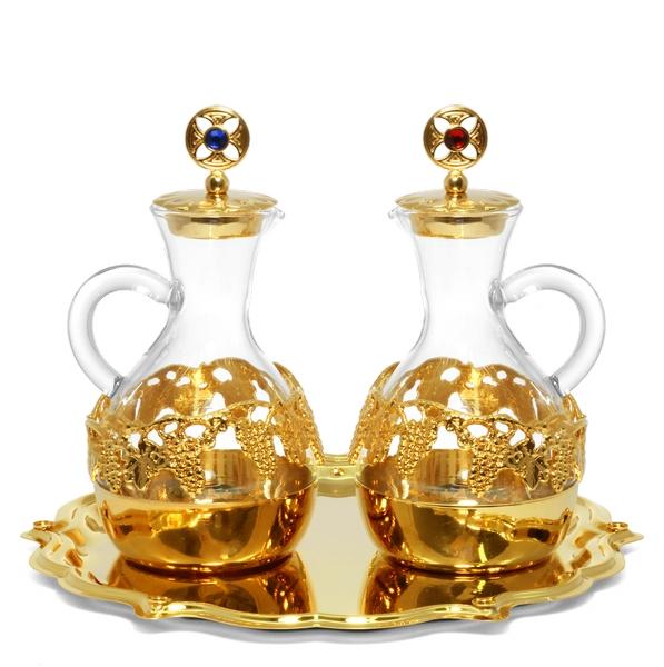 Brocchette vetro decoro dorato 140 cc.